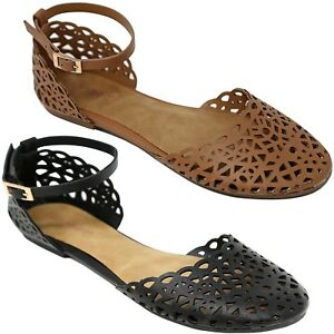 2aa7cbe9f New Women Black Tan Caged Cutout Perforated Mary Jane Ballet Flat ...