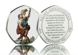ST CHRISTOPHER Full Colour Silver Commemorative. Travellers Prayer, Protection