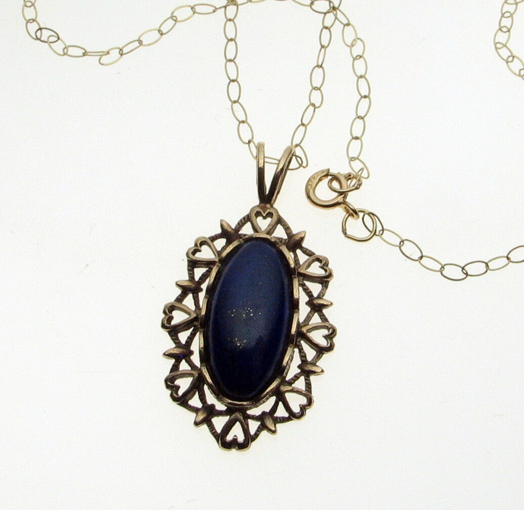 9 ct gold Lapis Lbluei Pendant with 16 Inch gold Chain Hallmarked
