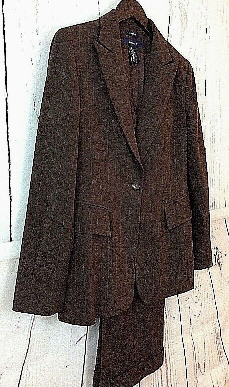 JONES WEAR Stretch Size 4 Women's Brown Subtle Pinstripe Pant Suit Lined EUC