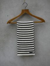 Wool Knit Stripey Scarf in Cream + Navy by Saint James – Made in France