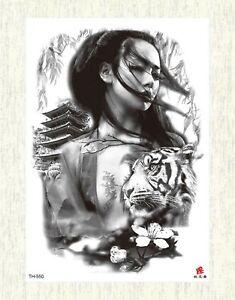 Tattoo Sexy Asian Women Tiger Large 8 25 Temporary Arm Tattoo Ebay