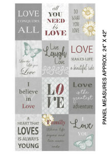 Details about Words To Live By From Benartex - Grey Love Panel #7702-99