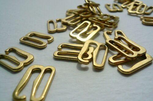 "Bra //Lingerie Making Gold Plated Metal Swan Hooks// 9 Hooks 12mm1//2 /"" Wide"