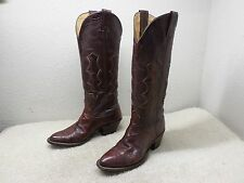 NOCONA L910 WOMEN BOOTS SZ 7 RED BURGUNDY EXOTIC LEATHER COWBOY WESTERN RARE