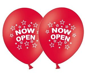 Now-Open-12-034-Printed-Latex-Red-Balloons-New-Shop-Store-Business-Pack-of-15