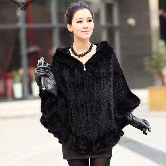 Knitted Genuine real natural Mink Fur Shawl Wrap Cape women mink fur coat