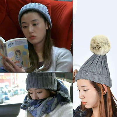 Fashion Women Crochet Beret Beanie Ball Hat Knitted Wool Hat Warm Winter Ski Cap
