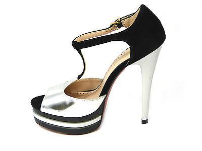 Mujer Punta Abierta Con Correas Plataforma Zapato Damas Tacón Alto Sandalia Zapatos Talla 3-8