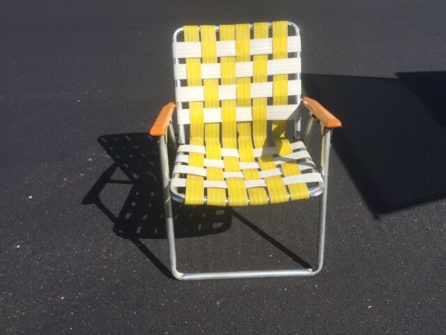 Folding Web Lawn Chairs.Vintage Aluminum Folding Webbed Lawn Chair Yellow White W Brown Arms