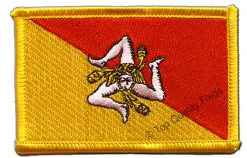 Italy Sicily Flag EMBROIDERED PATCH 8x6cm Badge