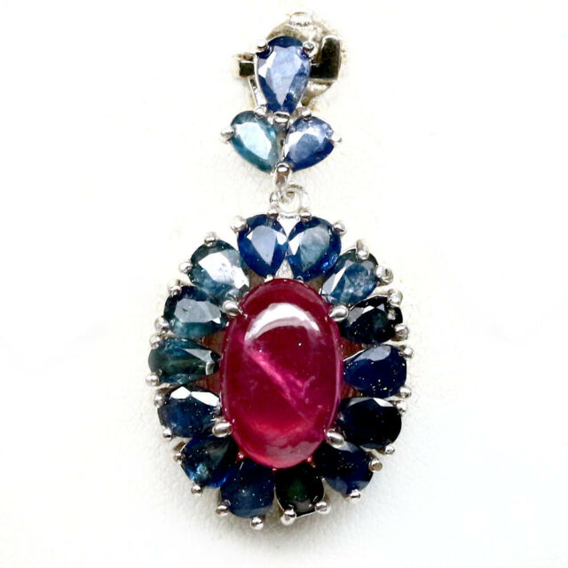 NATURAL 8 X 12 mm. PINK RUBY & BLUE SAPPHIRE 925 STERLING SILVER PENDANT