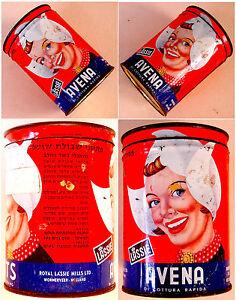1960 Israel LITHO TIN BOX Kosher OATS CAN Judaica AVENA LASSIE Dutch WOMAN
