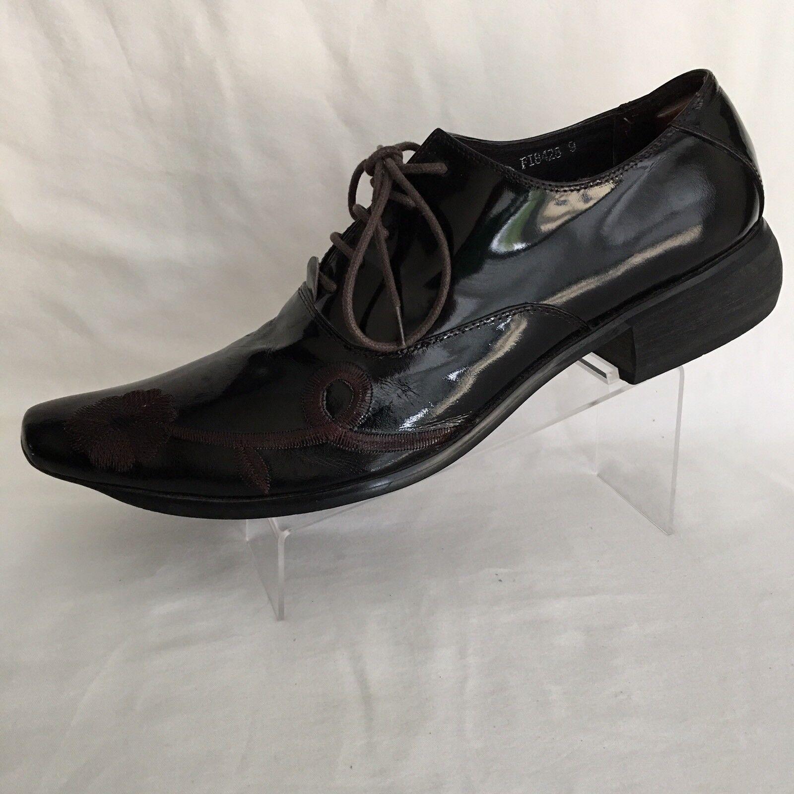 Fiesso Aurelio Garcia Men's Black Brown Leather Floral Oxfords shoes Size 9