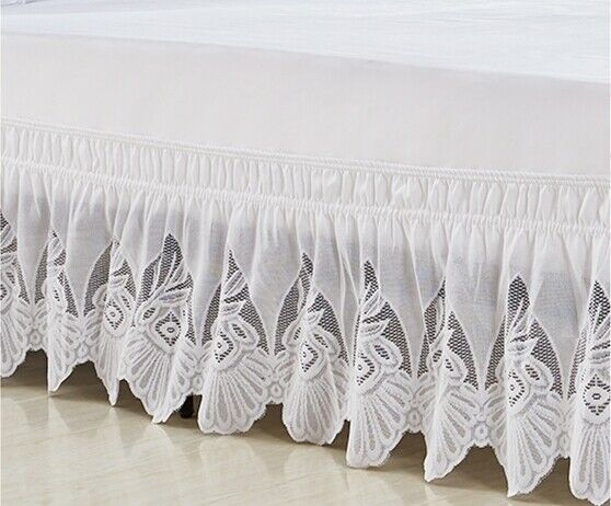 37CM Height Elastic Bed Skirt Princess Lace Dust Ruffle Twin Full Queen King