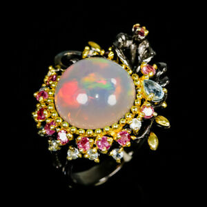 Handmade-12ct-AAA-Natural-Opal-925-Sterling-Silver-Ring-Size-8-5-R86378