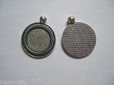 10 Antique Silver 20mm Round Alloy TRAYS Pendant Blank Bezel/Cabochon Setting