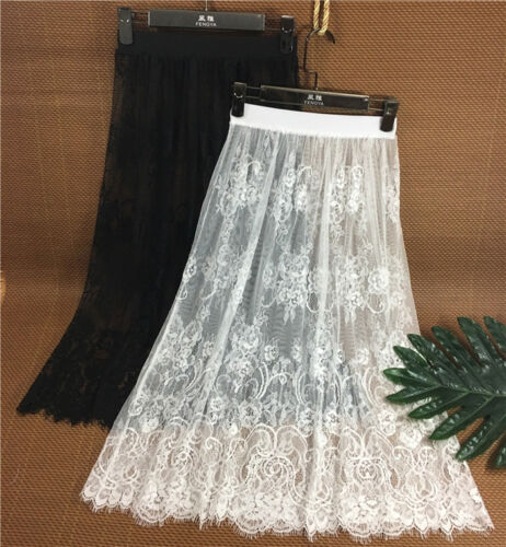Women Cotton Lace Floral Lace Half Slips Under Dress Underskirt Petticoat 74cm