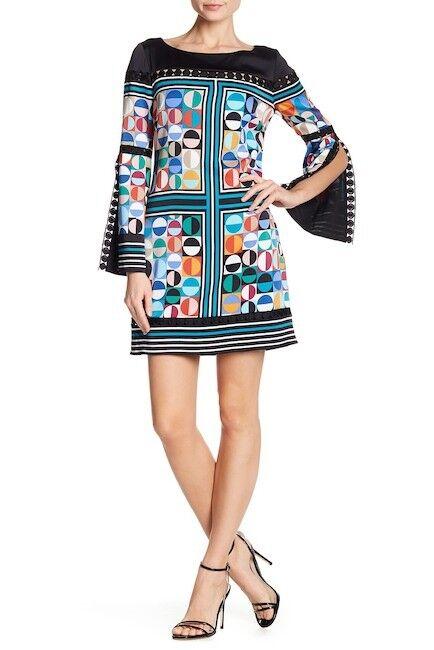 LAUNDRY NWT Beautiful ENAMEL Blau Printed Satin Shift Dress 0 2 4 6 8 10 12 14