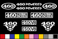 460 Ci V8 Powered 10 Decal Set Engine Stickers Emblems Fender Badge Decals
