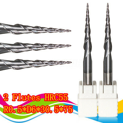 Ball Nose End Milling Cutter Cutting Tool 2 Flutes R0.5*D6*30.5*75L HRC55 Taper