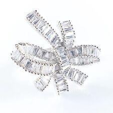 USA RING use SWAROVSKI CRYSTAL Fashion Gemstone Jewel Silver Wedding Bridal 5.5