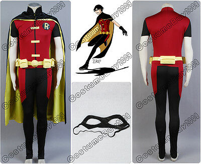 Batman Young Justice Robin Cosplay Costume Outfit Suit Uniform+Mask+Gloves Set