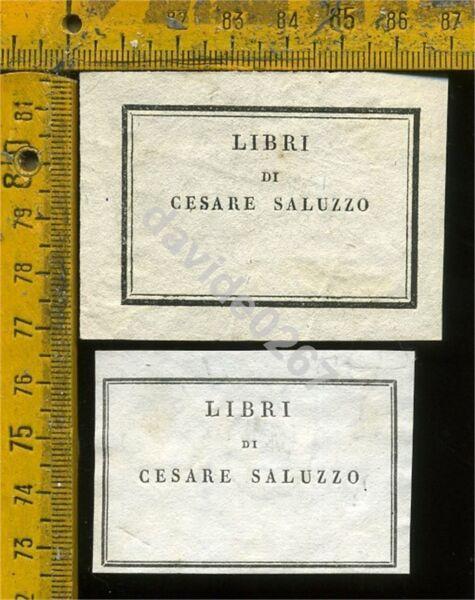 100% De Calidad Ex Libris Antico Originale A 653 Due Cesare Saluzzo 1830 E 1835