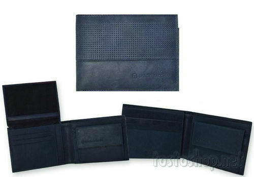 Sergio tacchini Men's Wallet Genuine Leather Blue Coin Purse Credit Cards