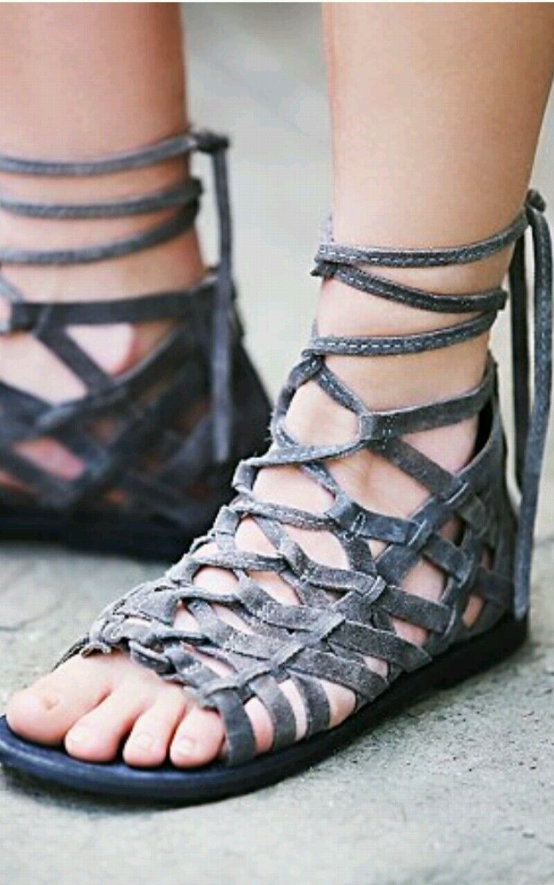 New Free People Great Lengths Lace-up Back Zip Sandal Leather Charcoal Sz 36