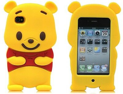 New Cute 3D Winnie the Pooh Bear Silicone Case Cover For Apple iPhone 4 4G 4S