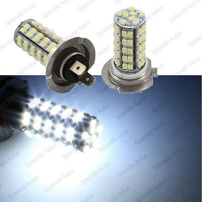 2 White Luxeon Xenon White 68 SMD H7 LED Driving Fog Lights Bulbs #978