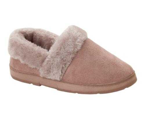WOMENS DR KELLER PINK FAUX FUR PADDED SOLE SLIP ON SLIPPERS MULES LADIES SIZE