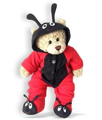 Teddy Bear Clothes fits Build a Bear Red Bug Outfit and Slippers See Outfit Back