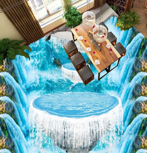 3D Water Curtain 47 Floor WallPaper Murals Wall Print 5D AJ WALLPAPER UK Lemon