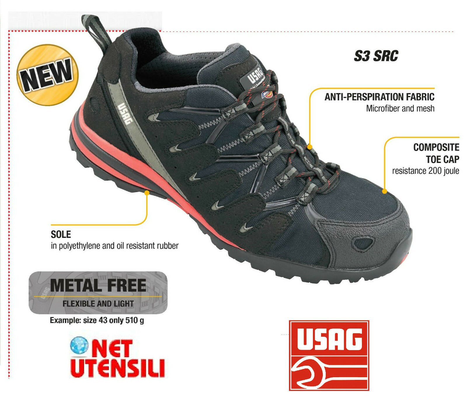 USAG 3500 S3A SCARPA SAFETY SHOES FROM WORK OF SECURITY METAL FREE
