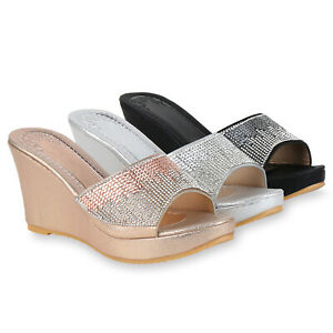 Damen Sandaletten Pantoletten Strass Plateau Vorne Party 7A2wN