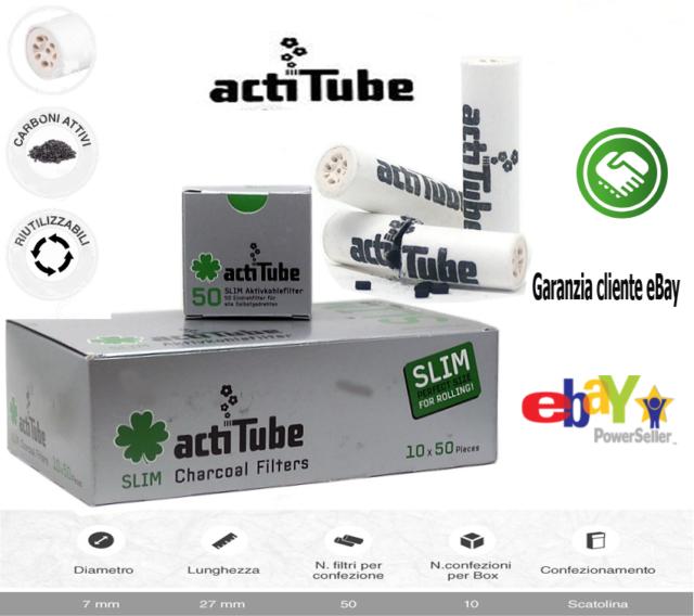 100 Pezzi actiTube 7mmØ Filtro Carbone Attivo Per Pipe 2 Scatoline Da 50 Filtri