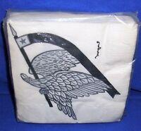 Vintage Morgan Beverage Napkins Eagle With Flag Or Banner 20 Ct 10 X 10 Nip