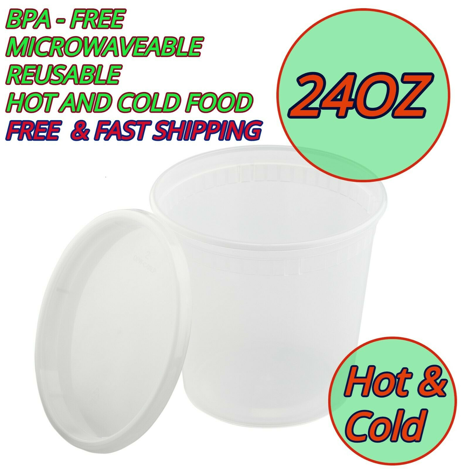 50 x 8oz Hot//Cold Deli Clear Containers//Pots Microwavable Re-usable w//Lids