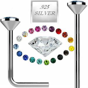 925-Sterling-Silver-Straight-L-Bend-Nose-Stud-Ring-1MM-1-5MM-2MM-2-5MM-CZ-22G