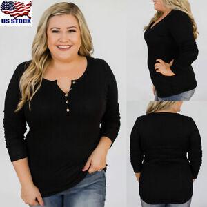 Plus-Size-Women-Long-Sleeve-Basic-Tops-Blouse-Casual-Button-Slim-T-Shirt-Jumper