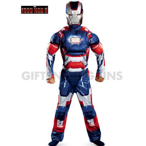 MARVEL AVENGERS BOYS COSTUME SUPER HERO IRONMAN 3 PATRIOT MUSCLE CHEST IRON MAN