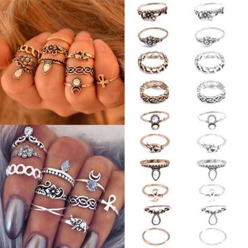 1 Set 10pcs Women New Popular Bowknot Knuckle Midi Mid Finger Tip Stacking Rings