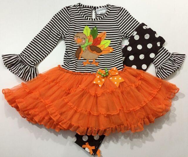 Emily Rose Girls Ruffle Thanksgiving Turkey 2-Piece Top /& Legging Set Orange