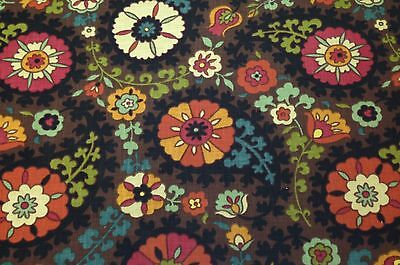 RICHLOOM SOMERSET GYPSY BROWN BASKETWEAVE SUZANI FLORAL FURNITURE FABRIC 3 YARDS