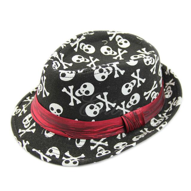 Jazz Fedora Cap Kid Boy Girl Popular Canva Cotton Trilby Flat Top Sun Hat Topper