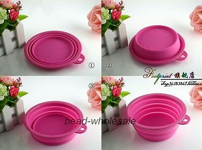 Dog Cat Pet Folding Collapsible Travel Feeding Foldable Silicone Pink Bowl Pot