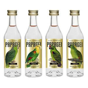 Colorful pappagallo Collection n8 4x5cl 40% miniature High Quality vodka GERMANY