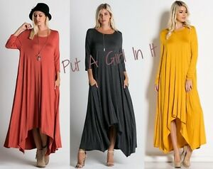 Plus Size Flare Hi Low Long Sleeve Asymmetrical Maxi Dress Usa Boho